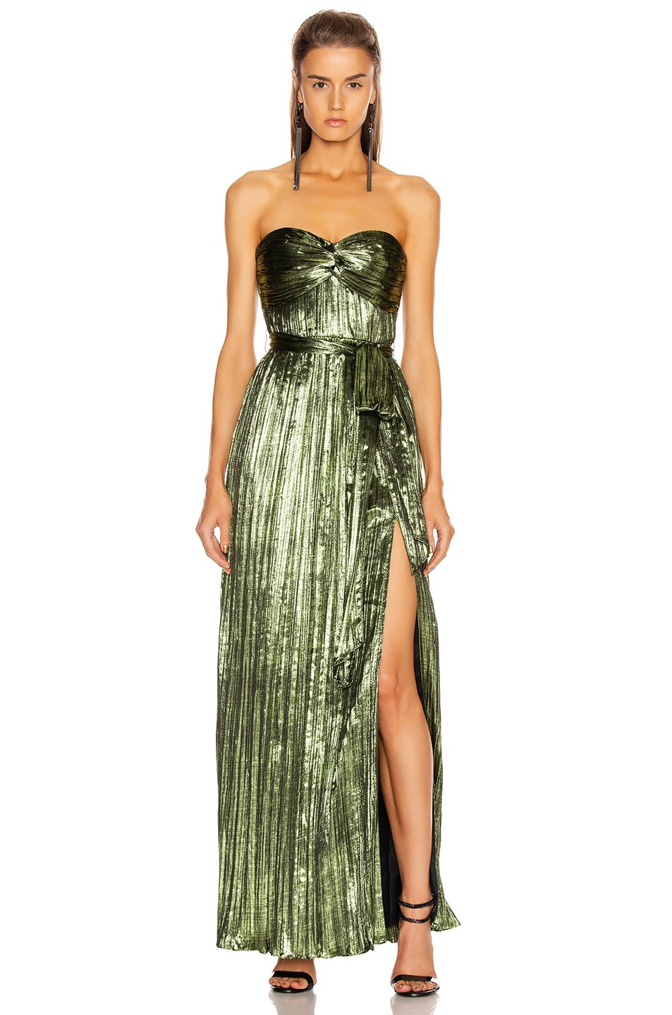 Image 1 of JONATHAN SIMKHAI Metal Plisse Strapless Gown in Lime