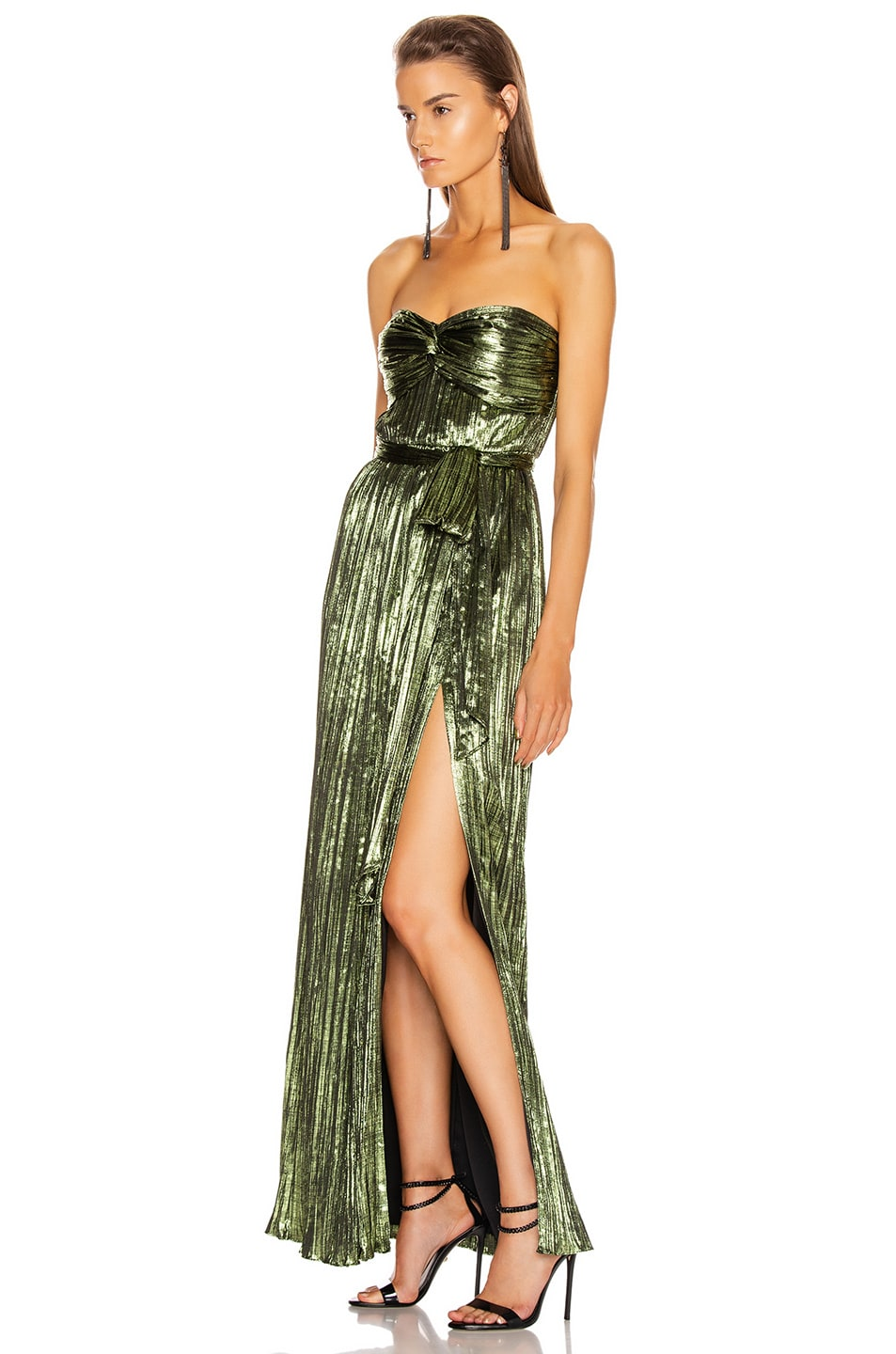 Image 4 of JONATHAN SIMKHAI Metal Plisse Strapless Gown in Lime