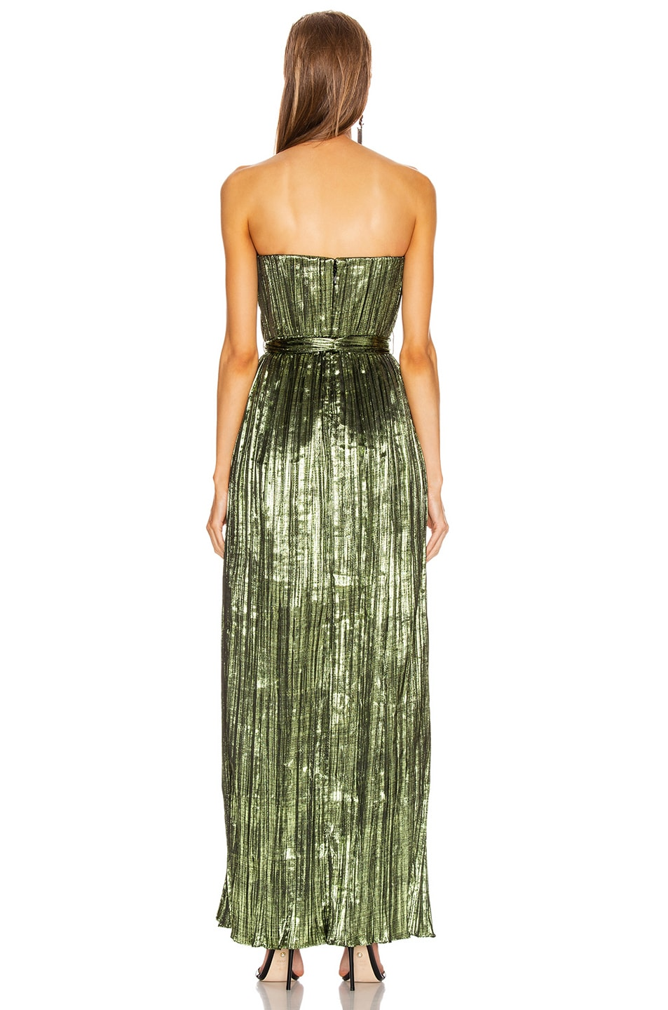 Image 5 of JONATHAN SIMKHAI Metal Plisse Strapless Gown in Lime
