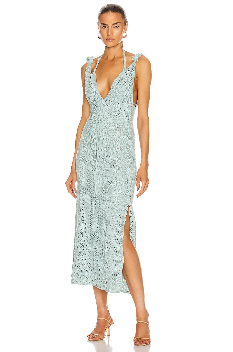 Image 1 of JONATHAN SIMKHAI Remi Hand Crochet Dress in Seafoam