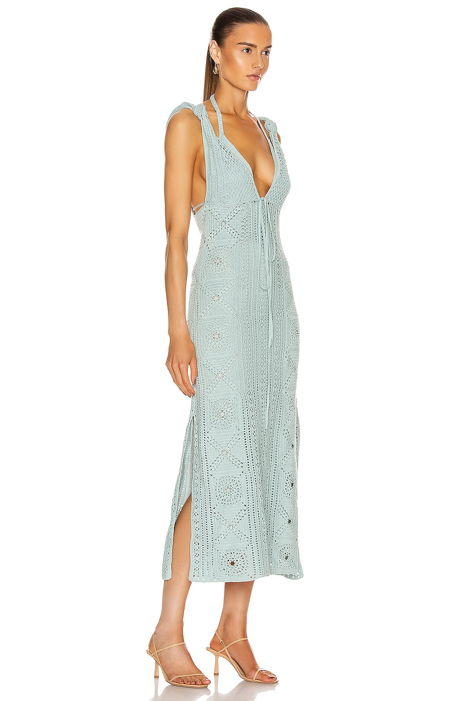 Image 2 of JONATHAN SIMKHAI Remi Hand Crochet Dress in Seafoam