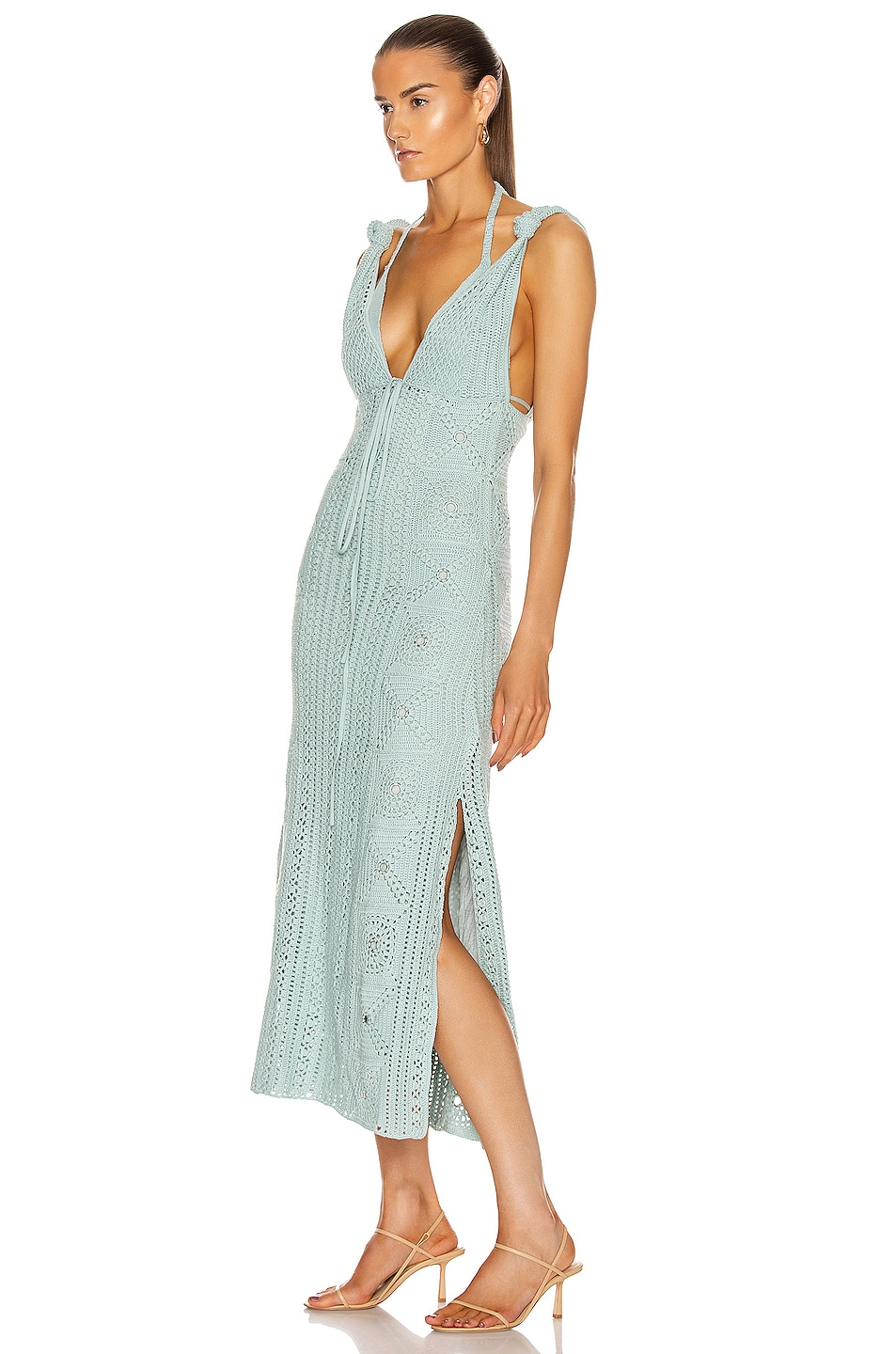 Image 3 of JONATHAN SIMKHAI Remi Hand Crochet Dress in Seafoam