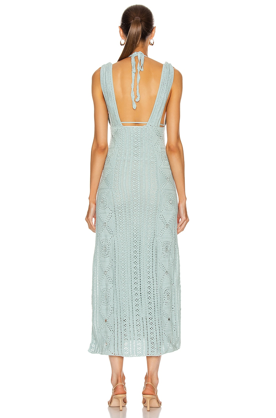 Image 4 of JONATHAN SIMKHAI Remi Hand Crochet Dress in Seafoam