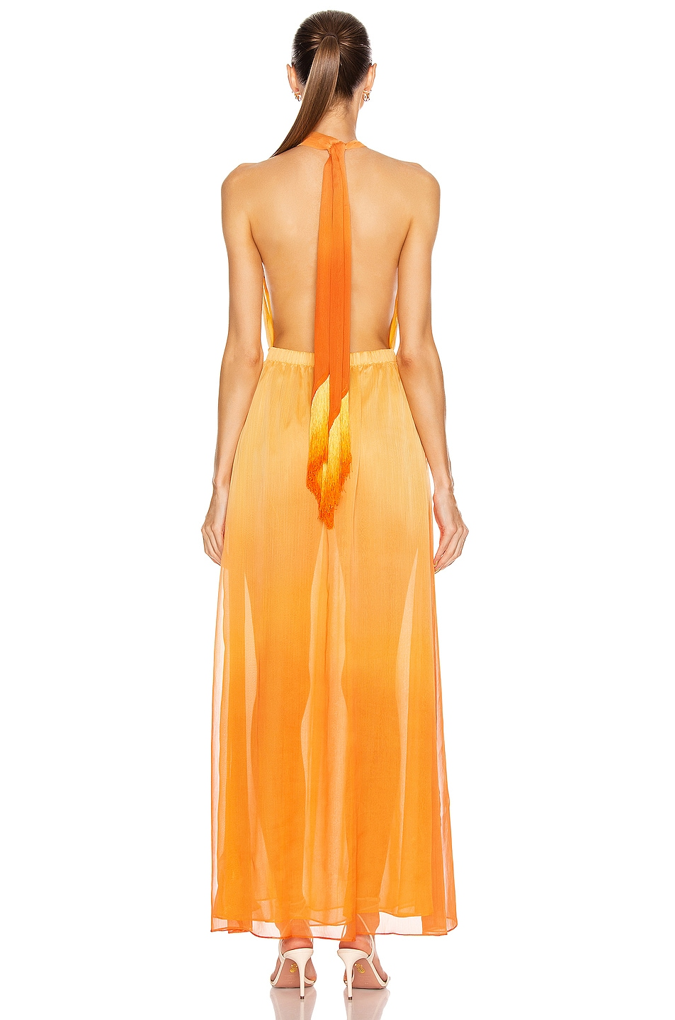 Image 3 of JONATHAN SIMKHAI Ombre Halter Maxi Dress in Amber Ombre