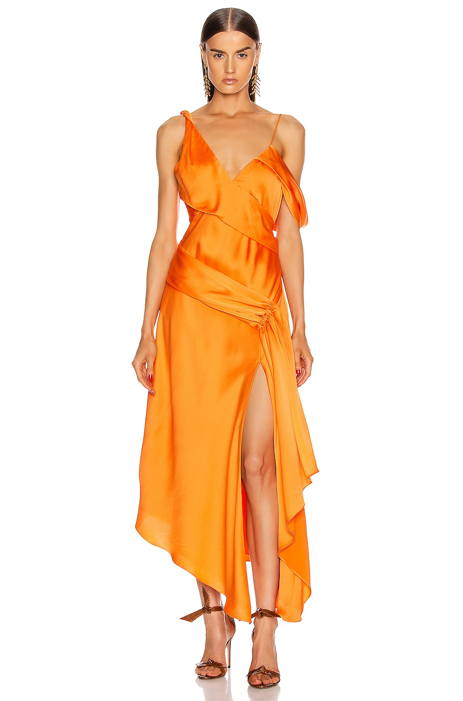 Image 1 of JONATHAN SIMKHAI Asymmetric Drape Gown in Tangerine
