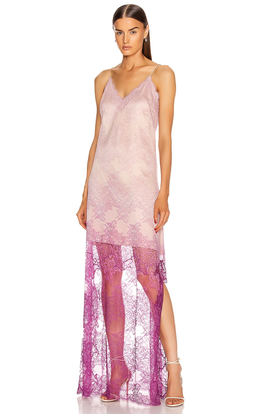 Image 1 of JONATHAN SIMKHAI Ombre Lace Slit Gown in Magenta Ombre