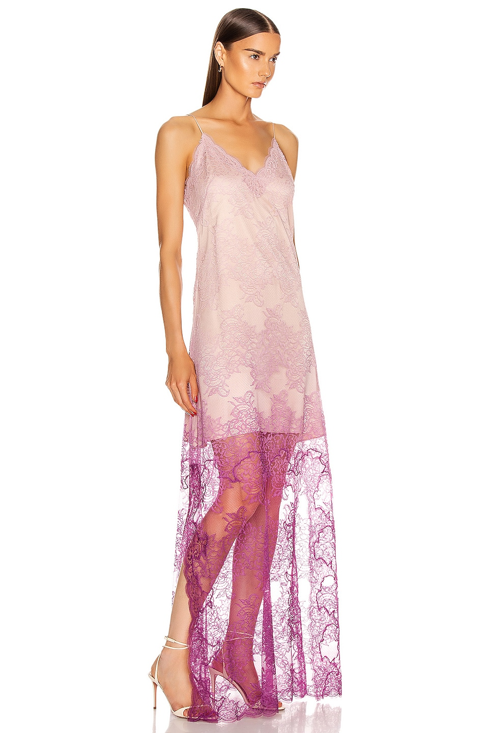 Image 2 of JONATHAN SIMKHAI Ombre Lace Slit Gown in Magenta Ombre