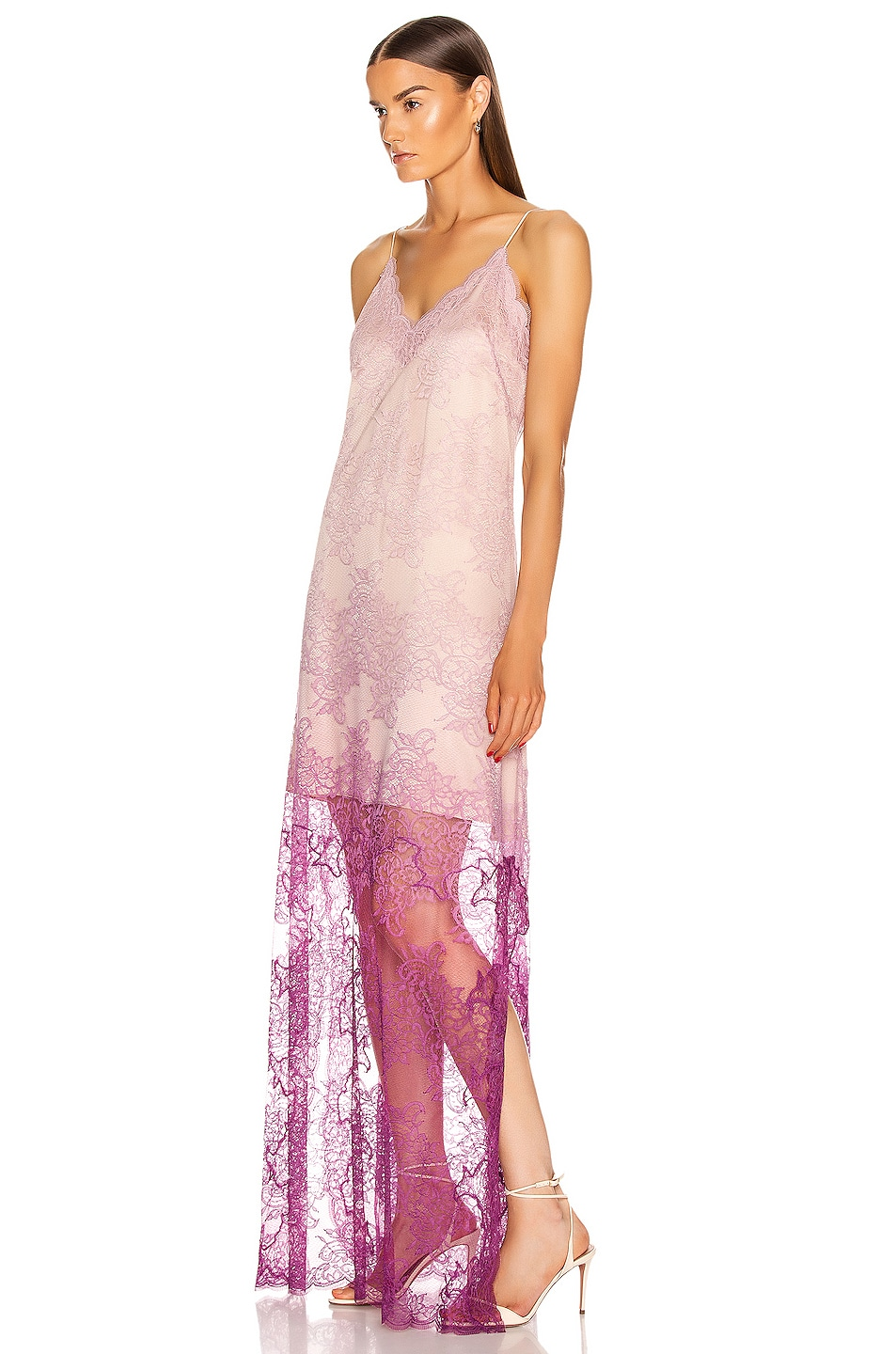 Image 3 of JONATHAN SIMKHAI Ombre Lace Slit Gown in Magenta Ombre