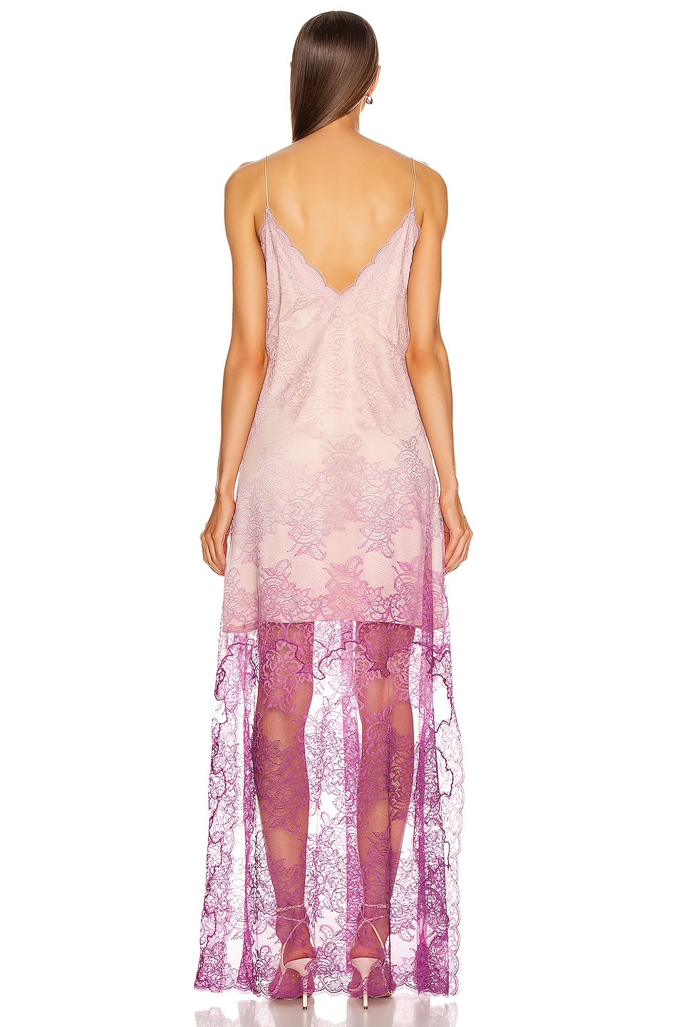 Image 4 of JONATHAN SIMKHAI Ombre Lace Slit Gown in Magenta Ombre