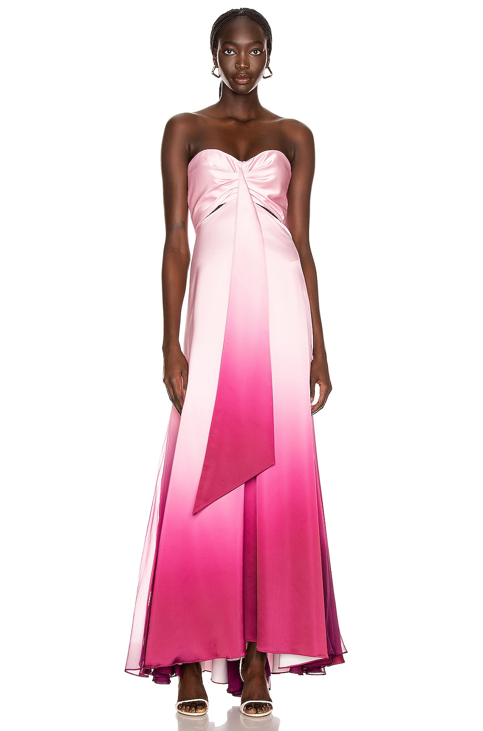 Image 1 of JONATHAN SIMKHAI Ombre Cutout Bustier Gown in Magenta Ombre