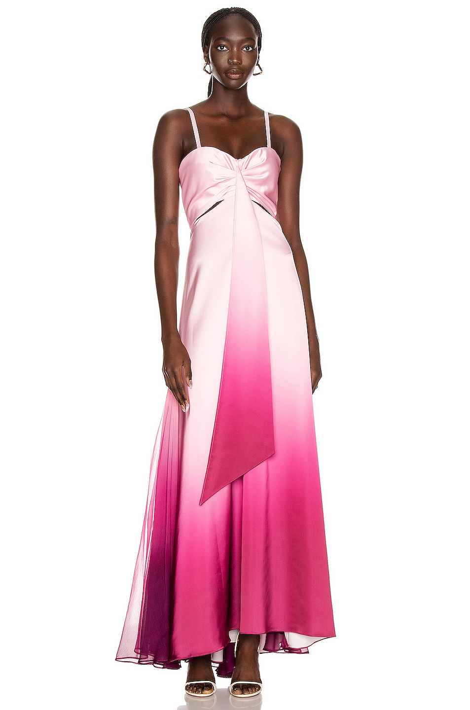 Image 2 of JONATHAN SIMKHAI Ombre Cutout Bustier Gown in Magenta Ombre