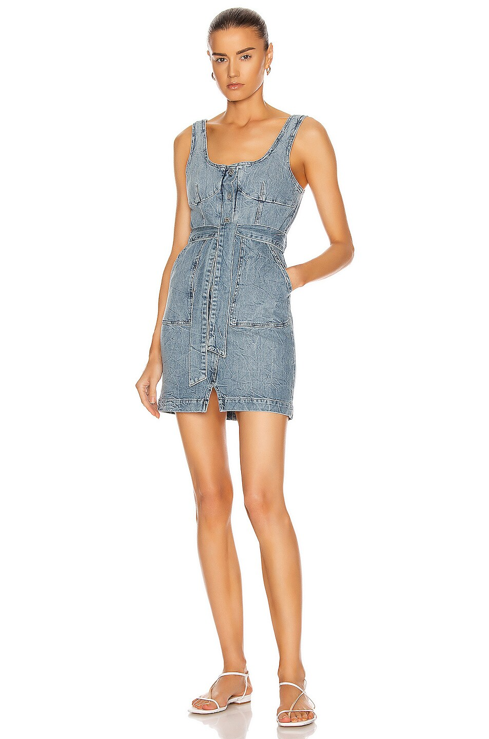 Image 1 of JONATHAN SIMKHAI Kalani Denim Dress in Blasted Wash