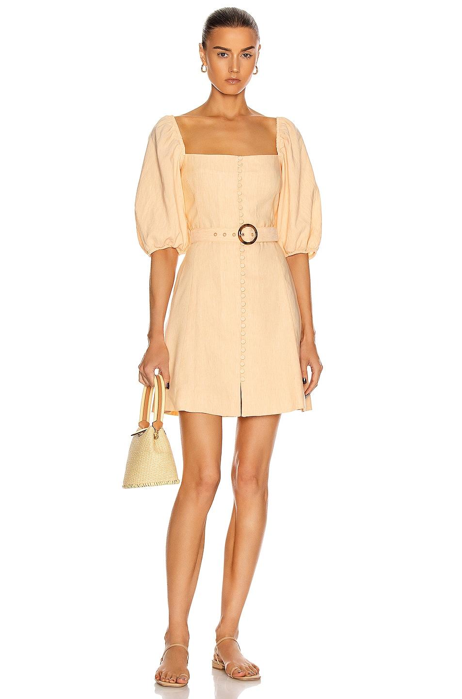 Image 1 of JONATHAN SIMKHAI Emery Belted Mini Dress in Apricot
