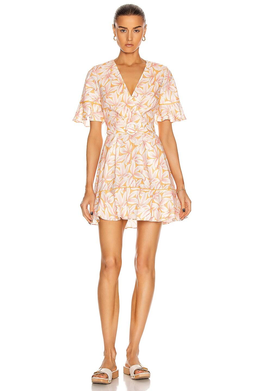 Image 1 of JONATHAN SIMKHAI Zoey Belted Ruffle Mini Dress in Apricot Print
