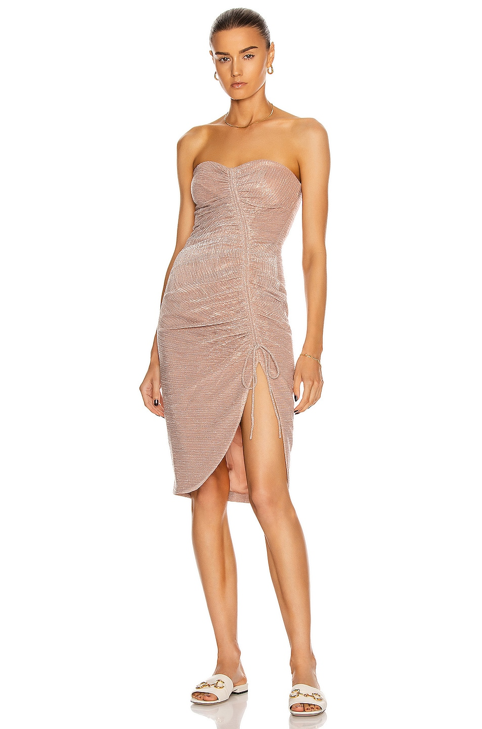 Image 1 of JONATHAN SIMKHAI Roxanne Bustier Ruffle Dress in Rose Gold