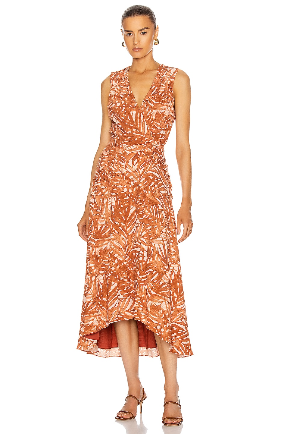 Image 1 of JONATHAN SIMKHAI Priscilla Sleeveless Ruched Midi Dress in Toffee Palm