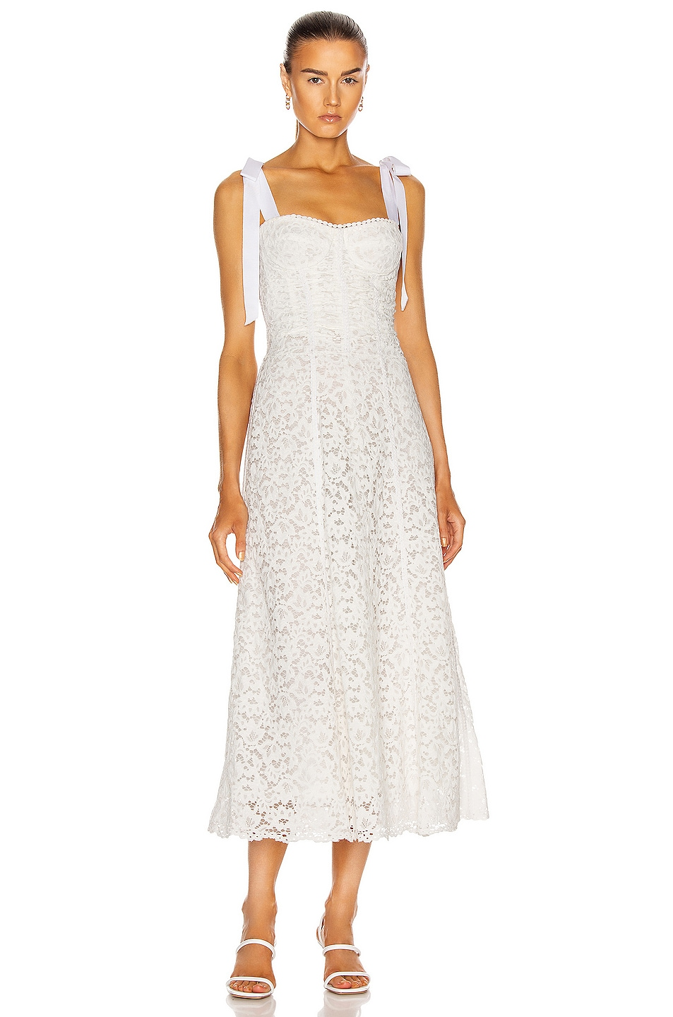 Image 1 of JONATHAN SIMKHAI Bustier Midi Dress in White