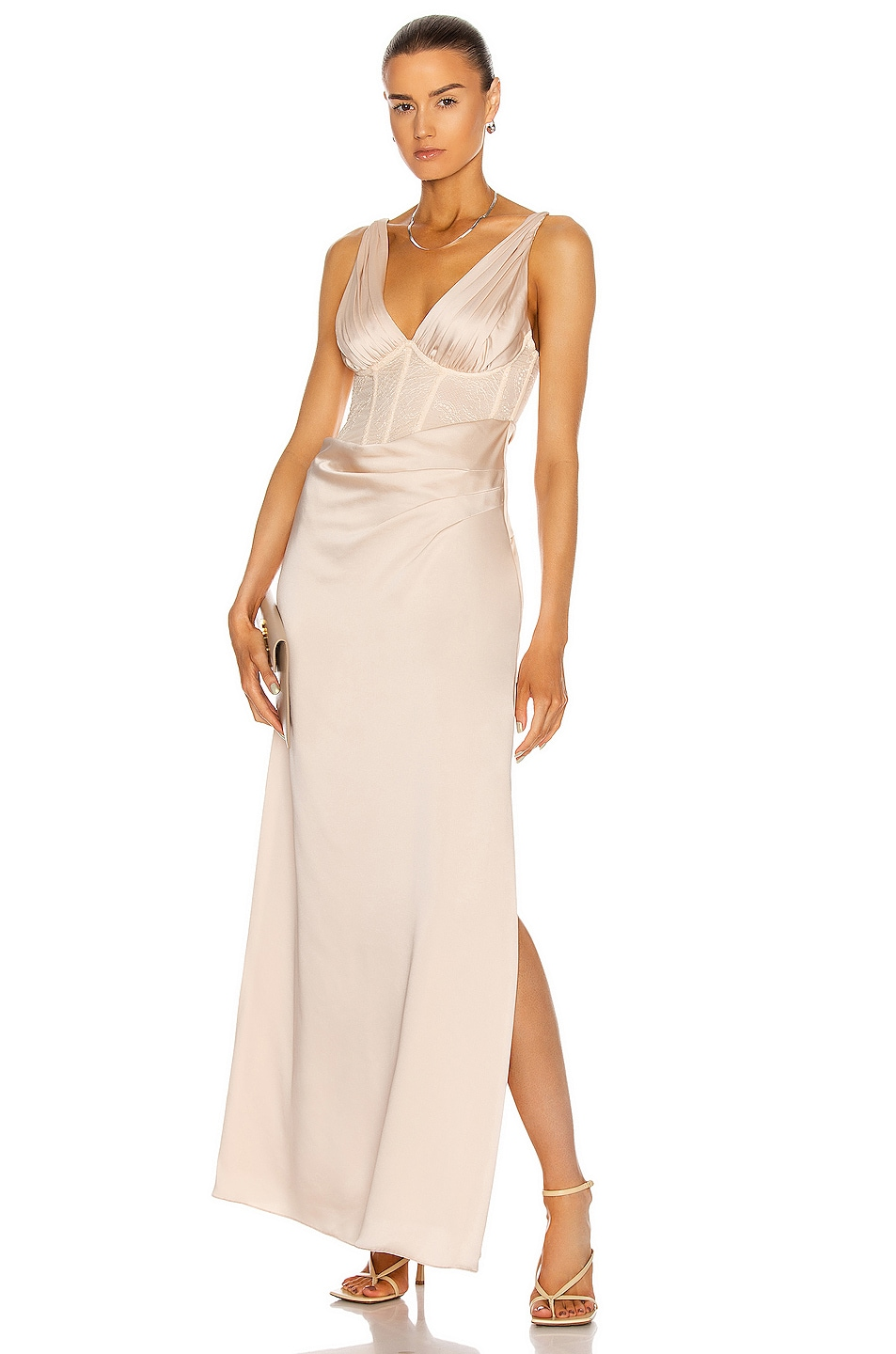 Image 1 of JONATHAN SIMKHAI Maeve Lace Wrap Dress in Champagne