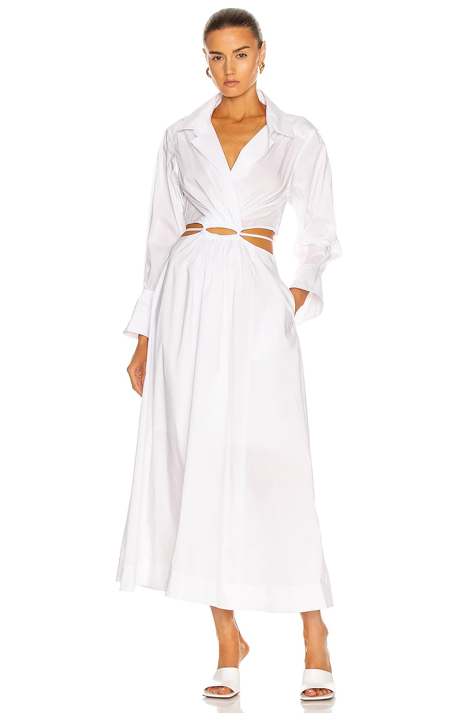Image 1 of JONATHAN SIMKHAI Alex Shirt Dress in White