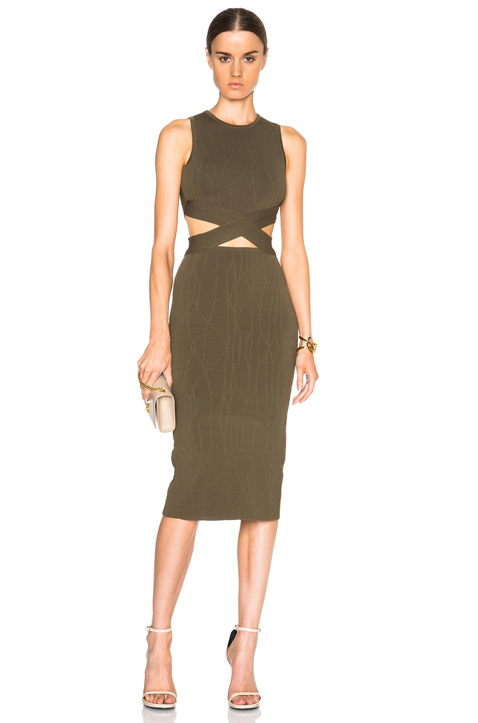 Image 1 of JONATHAN SIMKHAI Wrap Spill Dress in Army