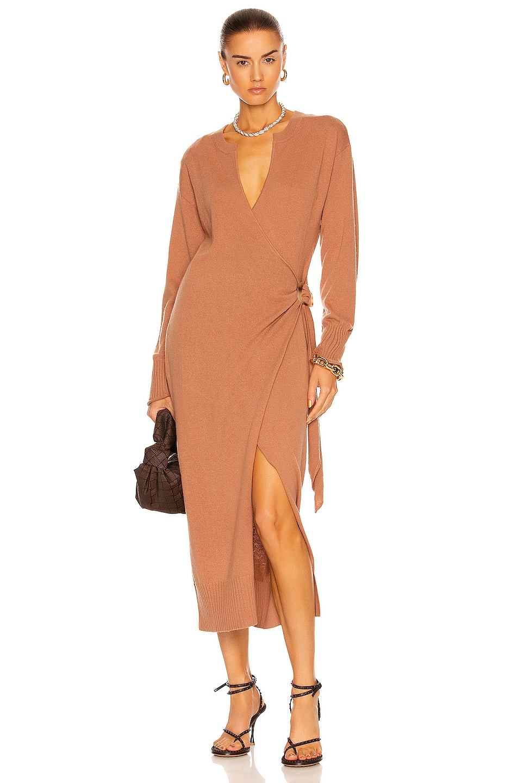 Image 1 of JONATHAN SIMKHAI Evalynn Cashmere Wrap Midi Dress in Teak