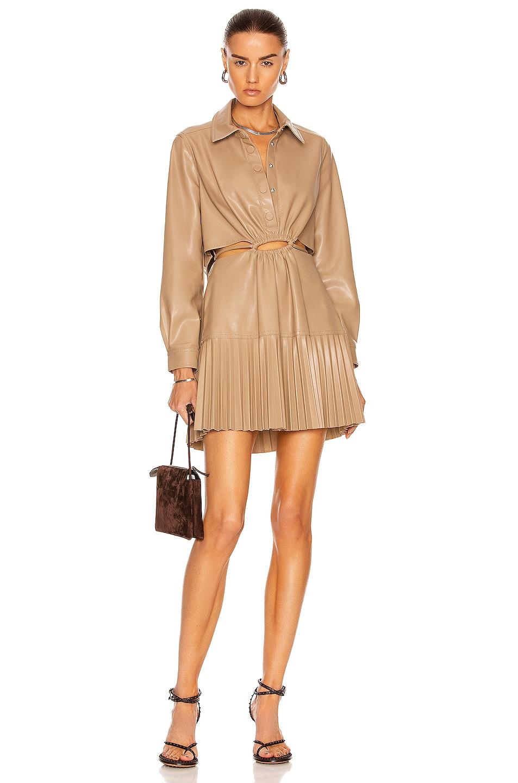 Image 1 of JONATHAN SIMKHAI Cindy Vegan Leather Pleated Mini Dress in Sparrow