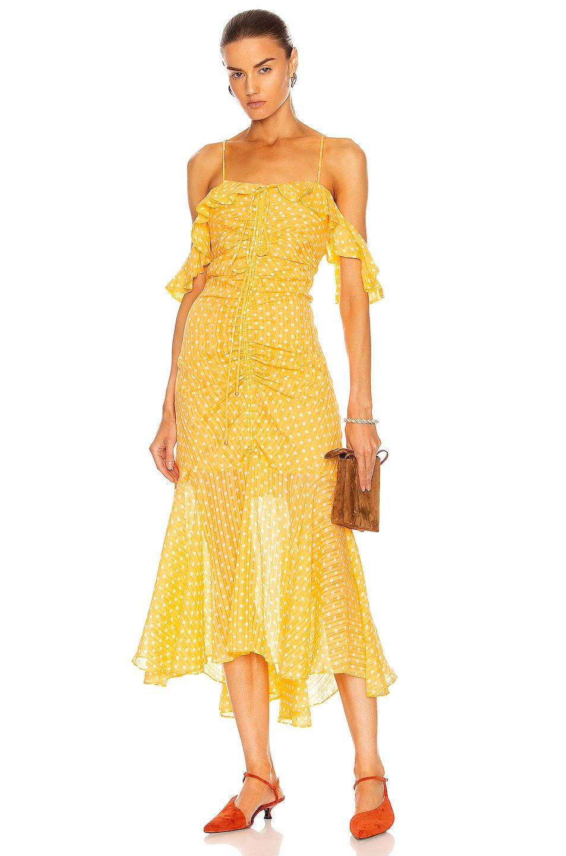 Image 1 of JONATHAN SIMKHAI Naomi Polka Dot Ruched Front Dress in Apricot & White