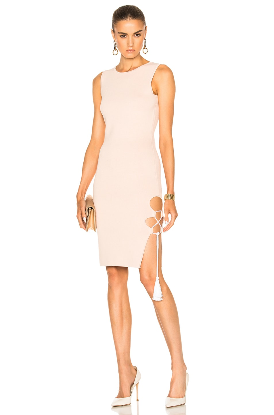 Image 1 of JONATHAN SIMKHAI for FWRD Knit Lace-up Dress in Nude