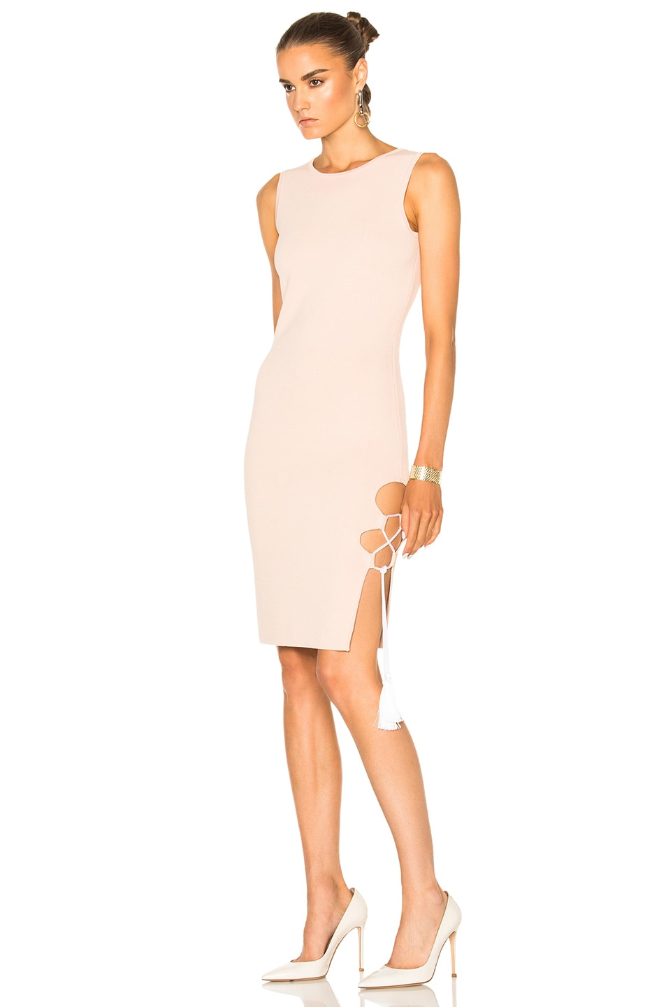Image 2 of JONATHAN SIMKHAI for FWRD Knit Lace-up Dress in Nude