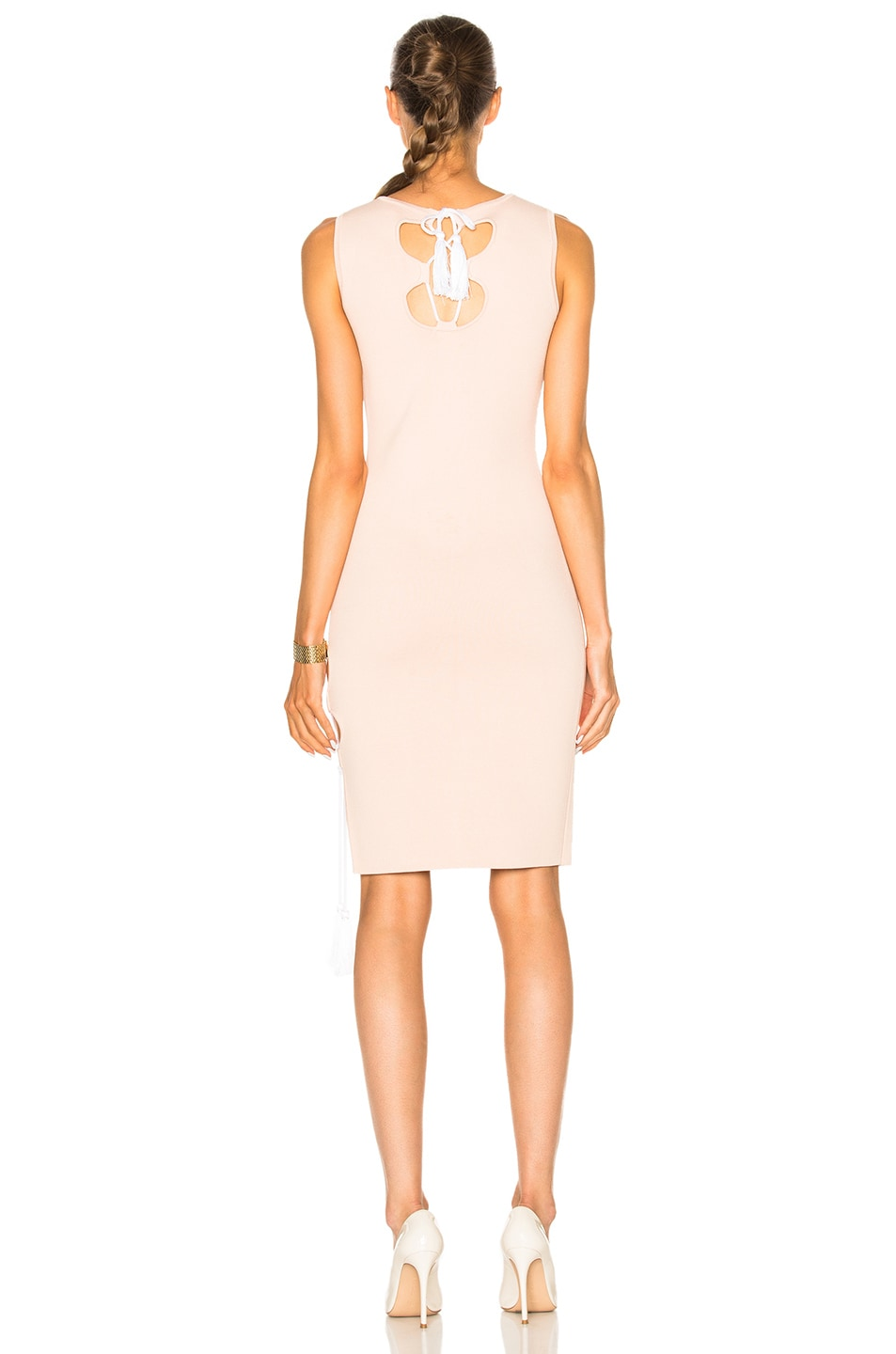 Image 4 of JONATHAN SIMKHAI for FWRD Knit Lace-up Dress in Nude