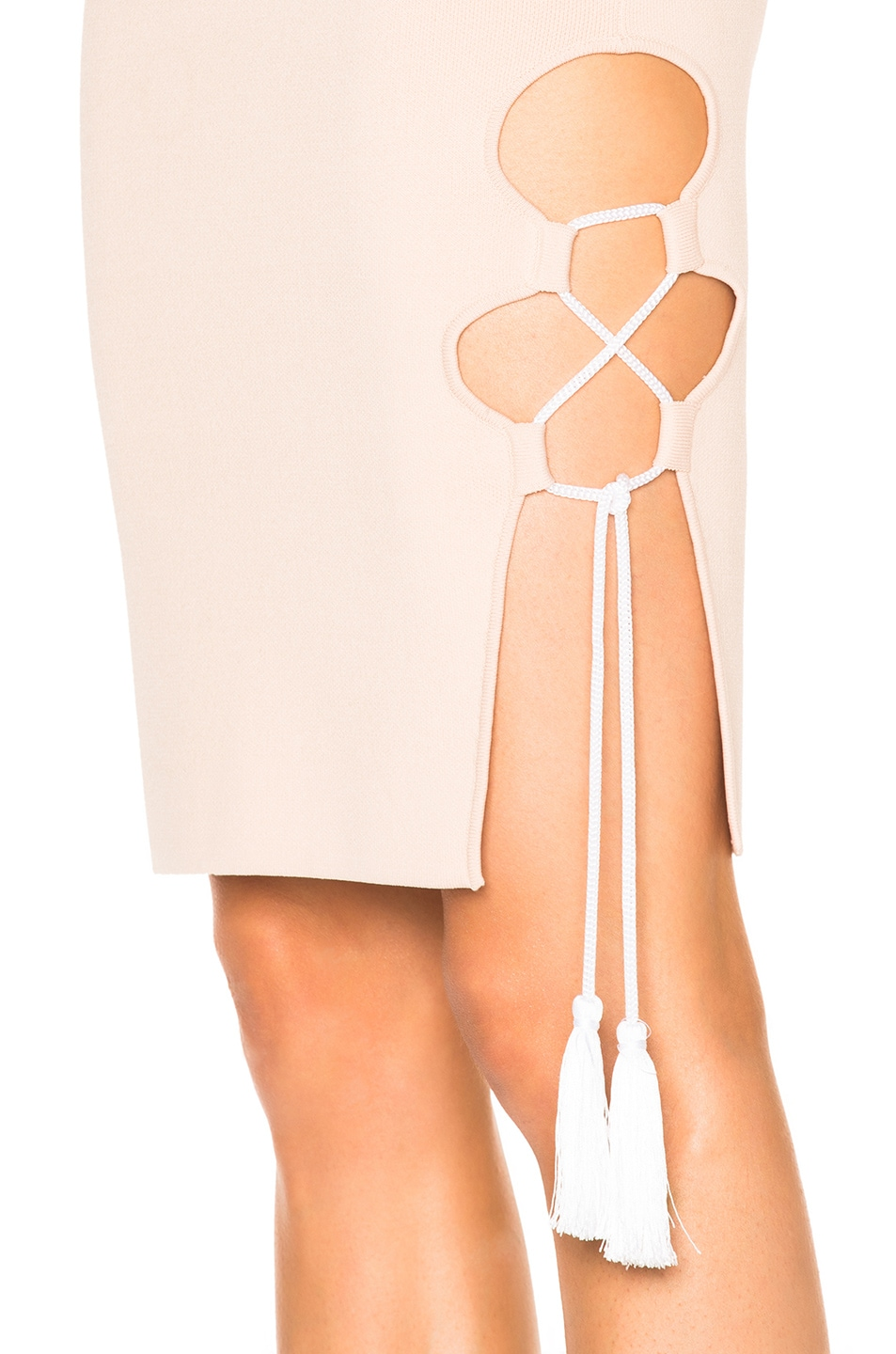 Image 5 of JONATHAN SIMKHAI for FWRD Knit Lace-up Dress in Nude