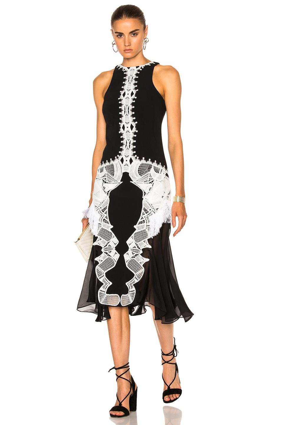 Image 1 of JONATHAN SIMKHAI Lace Crepe Applique Dress in Black & White