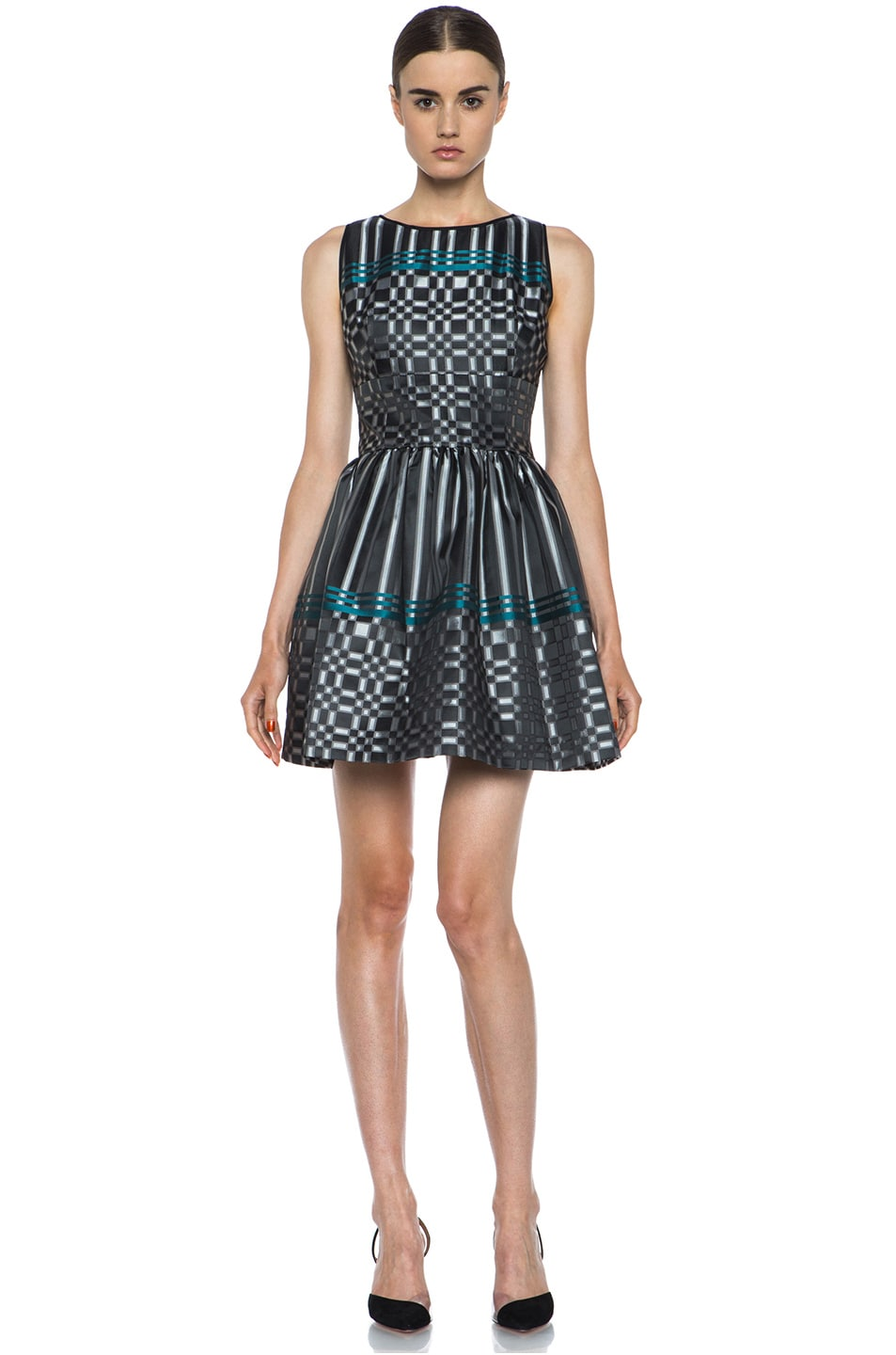 Image 1 of JONATHAN SIMKHAI Structured Jacquard Dress in Black & Teal