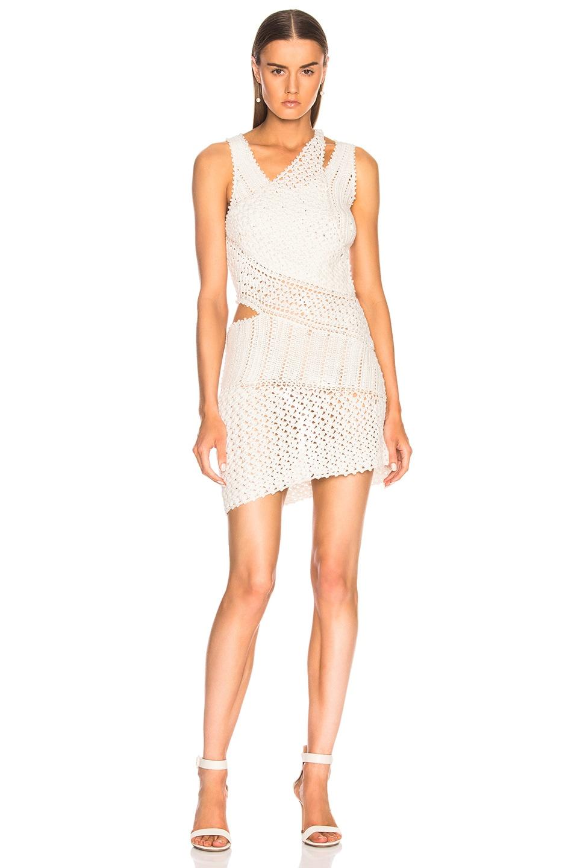 Image 1 of JONATHAN SIMKHAI for FWRD Pearl Crochet Mini Dress in White