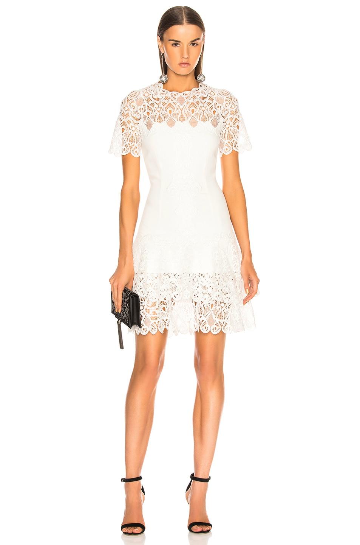 JONATHAN SIMKHAI Multimedia Lace Mini Tee Dress White 85%OFF