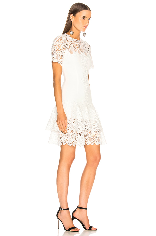 Image 2 of JONATHAN SIMKHAI Multimedia Lace Mini Tee Dress in White