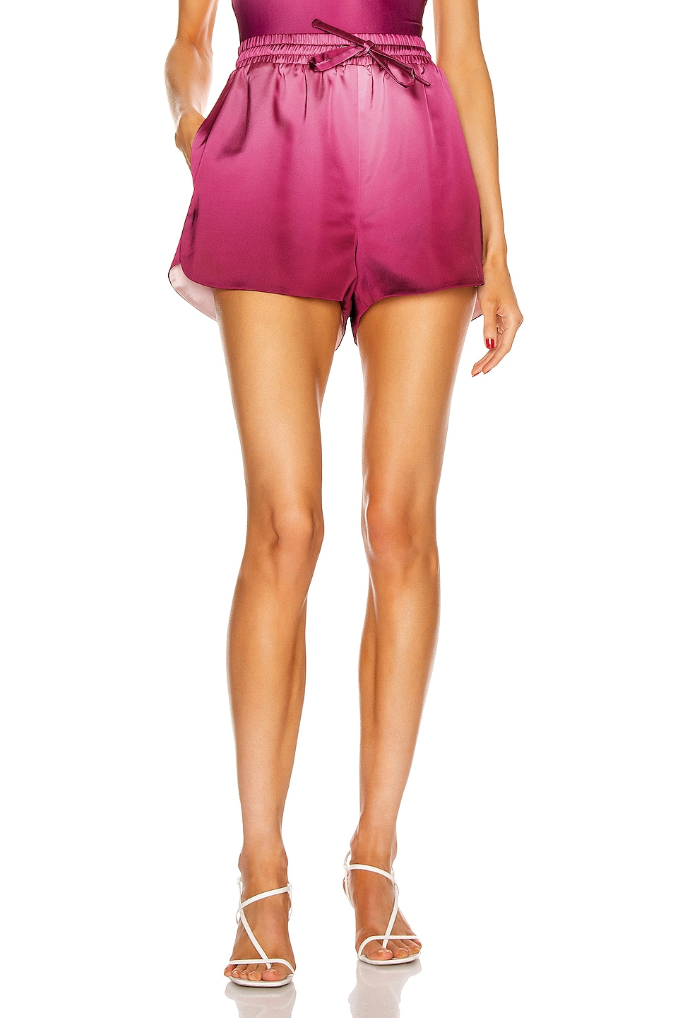 Image 1 of JONATHAN SIMKHAI Ombre Satin Tracker Short in Magenta Ombre