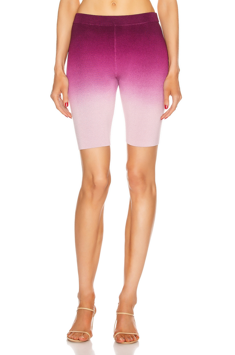 Image 1 of JONATHAN SIMKHAI Ombre Compact Knit Biker Short in Magenta Ombre