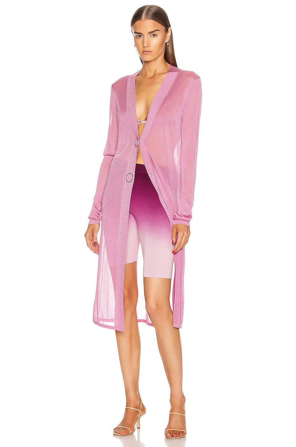 Image 4 of JONATHAN SIMKHAI Ombre Compact Knit Biker Short in Magenta Ombre