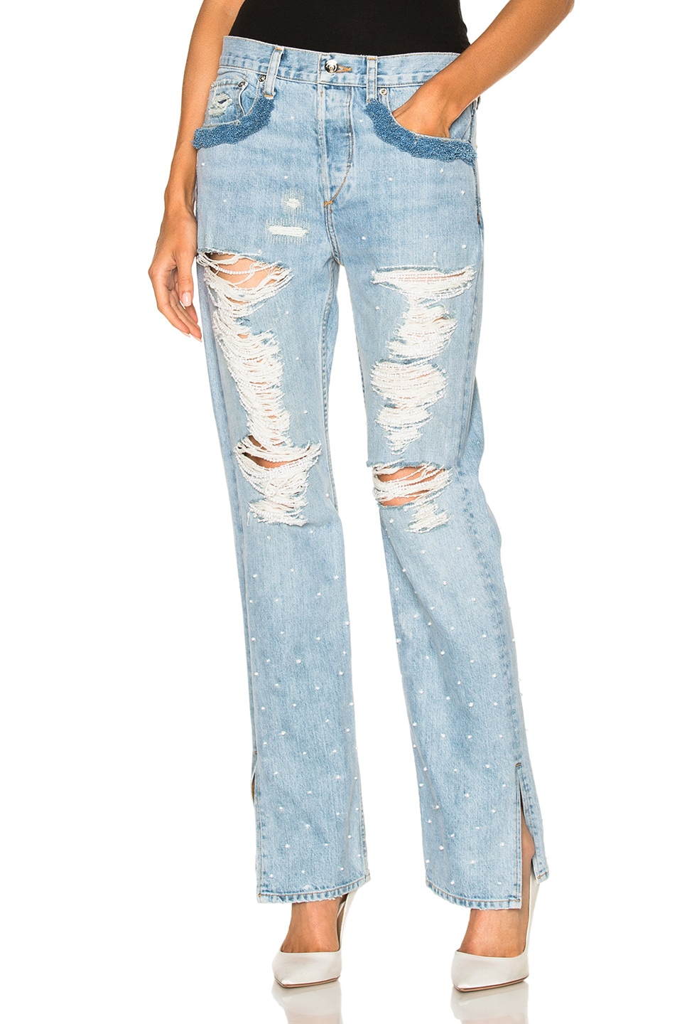 Image 1 of JONATHAN SIMKHAI Distressed Beaded Jeans in Chambray