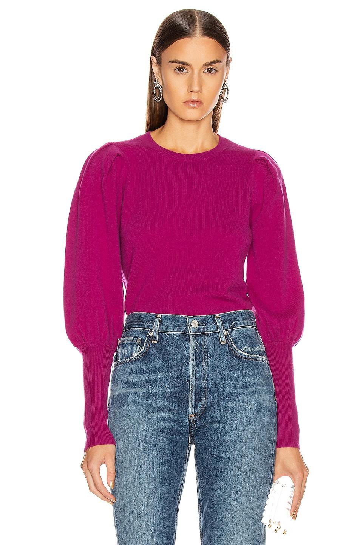 Image 1 of JONATHAN SIMKHAI Cashmere Puff Sleeve Sweater in Fuchsia