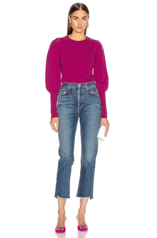Image 4 of JONATHAN SIMKHAI Cashmere Puff Sleeve Sweater in Fuchsia
