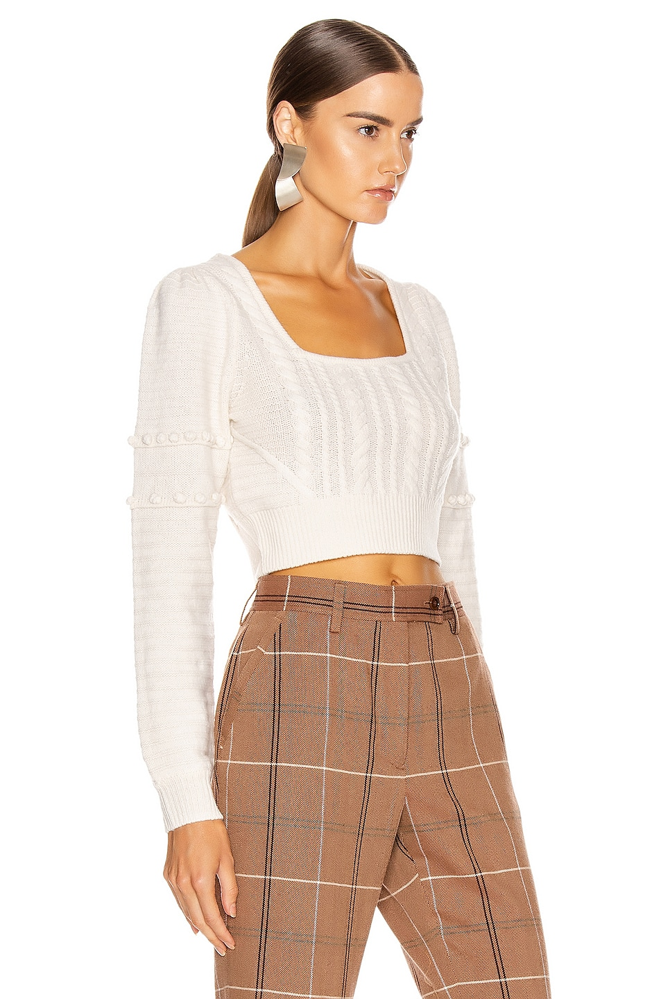 Image 2 of JONATHAN SIMKHAI Scarf Embroidery Cropped Sweater in White Combo