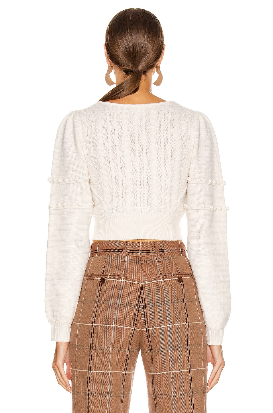 Image 3 of JONATHAN SIMKHAI Scarf Embroidery Cropped Sweater in White Combo