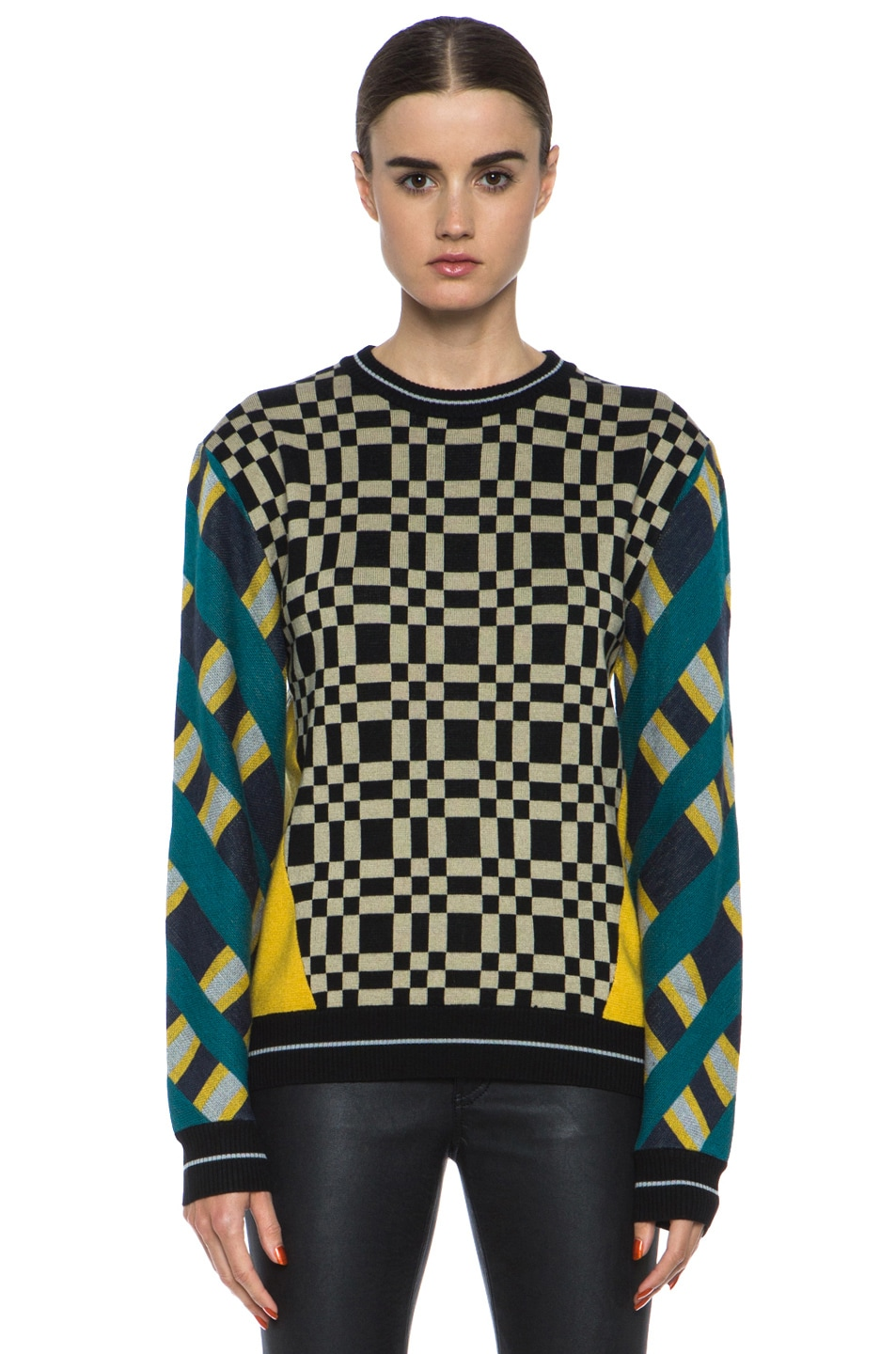 Image 1 of JONATHAN SIMKHAI Check Plaid Pullover Sweater in Combo