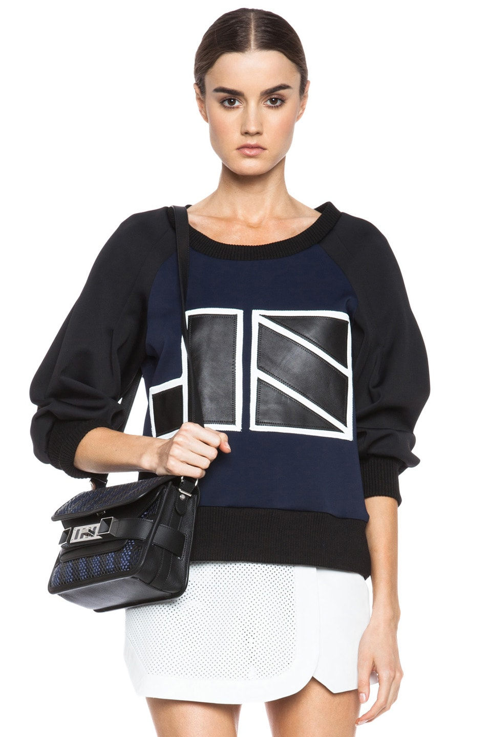 Image 1 of JONATHAN SIMKHAI JS Neoprene Sweatshirt in Black & Navy