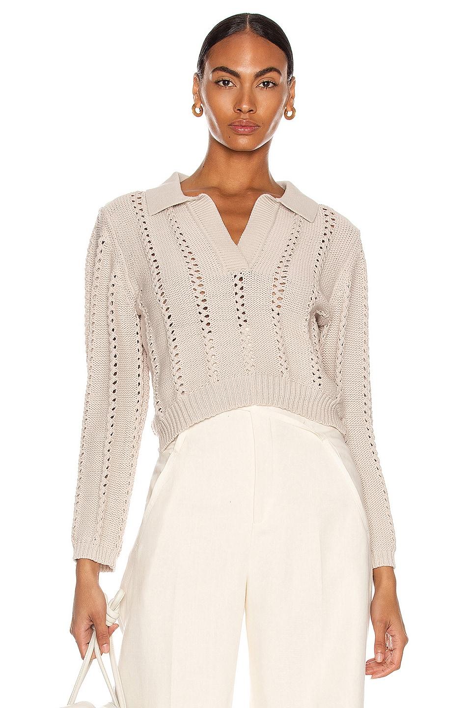 Image 1 of JONATHAN SIMKHAI Berenice Polo Sweater in Egret