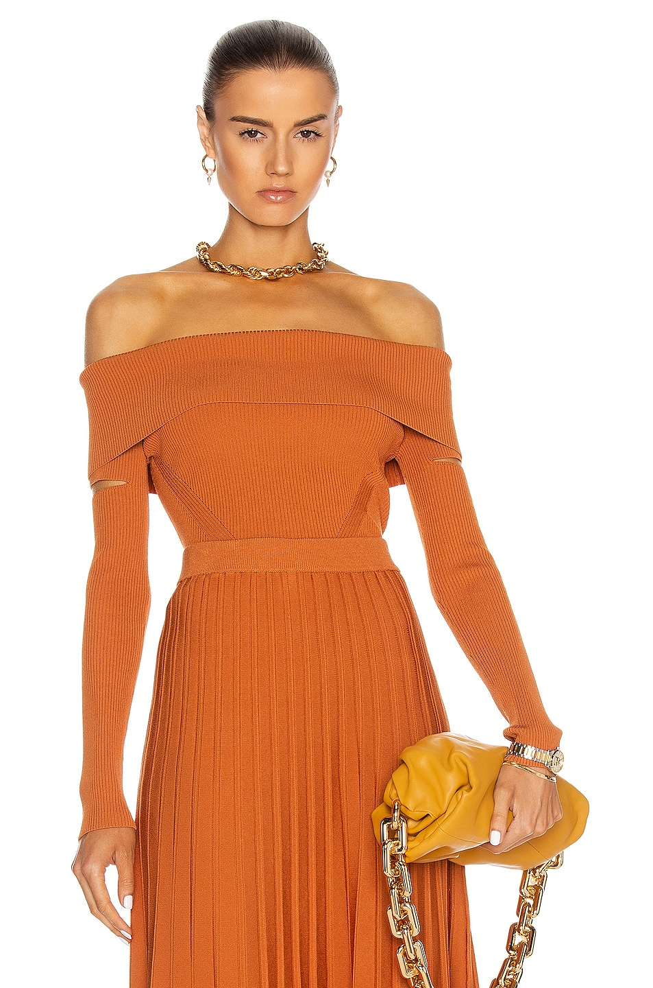 Image 1 of JONATHAN SIMKHAI Zayla Off The Shoulder Sweater in Tobacco