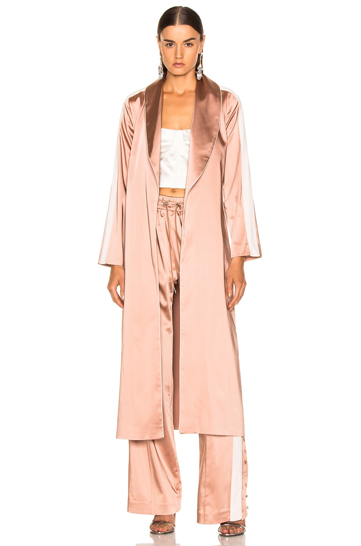 Image 1 of JONATHAN SIMKHAI Crepe Satin Combo Robe in Pink Sand & Nude