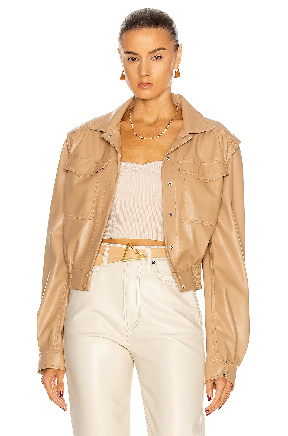 Image 1 of JONATHAN SIMKHAI Vegan Leather Marbella Cropped Cargo Jacket in Cashew